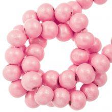 roze metallic houten kralen 8 mm