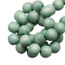 houten kralen ronde vorm poeder groen 6 mm