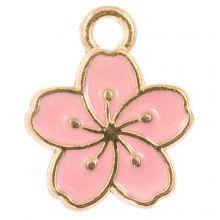 Bedel Enamel Bloem (14 x 12 x 1,5 mm) Pink (5 Stuks)