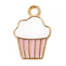 Bedel Enamel Cupcake (16 x 11 x 2 mm) Pink (5 Stuks)