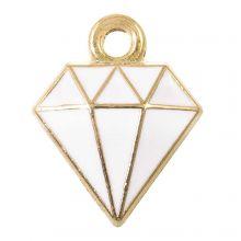 Bedel Enamel Diamant (15 x 11 x 2.5 mm) White (5 Stuks)