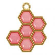 Hanger Enamel Honinggraat (21 x 17 x 1.5 mm) Red Violet (5 Stuks)