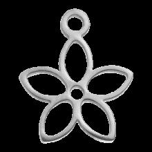Stainless Steel Bedel Bloem (13 x 11 mm) Antiek Zilver (4 Stuks)