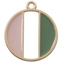 Hanger Enamel (26 x 23 mm) Pink Green (5 Stuks)