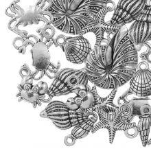 Bedelmix Beachlife (diverse maten) Antiek Zilver (24 Stuks)