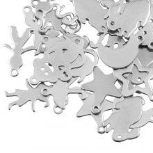 Stainless Steel Bedelmix (diverse maten) Antiek Zilver (40 Stuks)