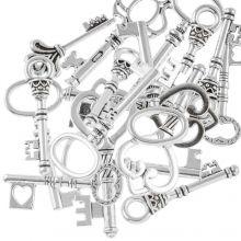 Hanger Mix Sleutels (diverse maten) Antiek Zilver (30 Stuks)
