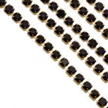 Stainless Steel Rhinestone Ketting (2 mm) Black / Goud (2 Meter)