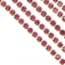 Stainless Steel Rhinestone Ketting (2 mm) Pink / Goud (2 Meter)