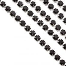 Stainless Steel Rhinestone Ketting (2 mm) Black / Zilver (2 Meter)