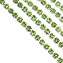 Stainless Steel Rhinestone Ketting (2 mm) Green / Zilver (2 Meter)