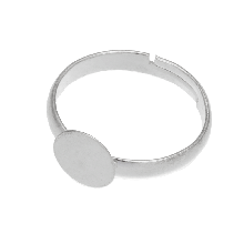 Stainless Steel Verstelbare Ring (Tray 12 mm) Zilver (5 Stuks)