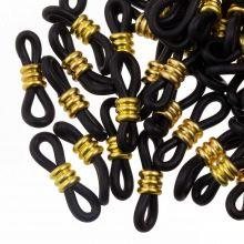 Bril Elastiekjes met Stainless Steel (Black - Goud) 25 Stuks