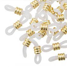 Bril Elastiekjes met Stainless Steel (Transparant - Goud) 25 Stuks