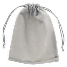 Velours Sieraden Zakjes (15 x 12 cm) Grey (5 Stuks)