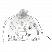 Organza Zakjes (13 x 18 cm) White & Silver (25 Stuks)