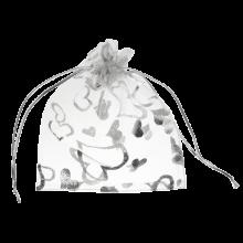 Organza Zakjes (7 x 9 cm) White & Silver (25 Stuks)