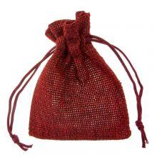 Jute Sieraden Zakjes (9 x 7 cm) Dark Red (10 Stuks)