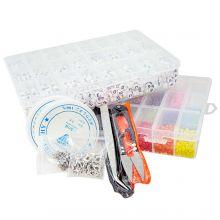 Voordeelpakket - Letterkralen (7 x 4 mm - White) Rocailles (4 mm - Mix Color) en Tools