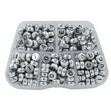 Kralendoos - Zilver Letterkralen Klinkers - 7 x 3.5 mm (50 kralen per letter)