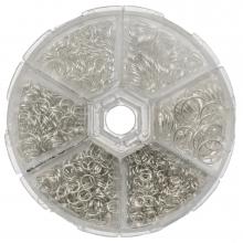 Voordeelpakket - Buigringen Box (6 verschillende maten / 4 tot 10 mm x 0.7 tot 1mm dikte) Zilver (1600 Stuks)