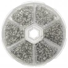 Voordeelpakket - Splitringen Box (6 verschillende maten) Antiek Zilver