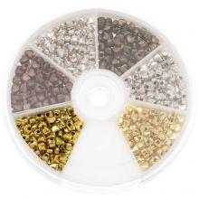 Kralendoos - Metalen Kralen Hartjes (4 x 3 mm) Mix Color (700 Stuks)