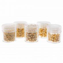 Voordeelpakket - Metalen Kralen (2 / 2.5 / 3/ 4 en 5 mm) Goud (2300 Stuks)