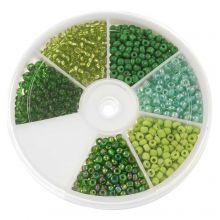 Kralendoos - Rocailles glaskralen Green (3 mm) 'Mix Color'