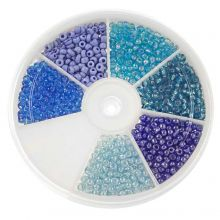 Kralendoos - Rocailles Glaskralen Blue (3 mm) 'Mix Color'