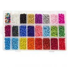 Kralendoos XL - Rocailles (4~5 mm / 24 x 250 stuks) 'Mix Color'