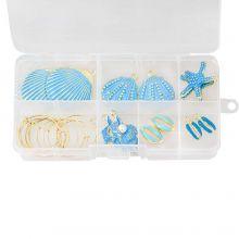 Voordeelpakket - Schelp Oorbellen Maken (Diverse maten) Goud/Blue (12 stuks)