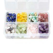 Kralendoos - Natuursteen Chips (3 - 8 mm) Mix Color (200 gram)