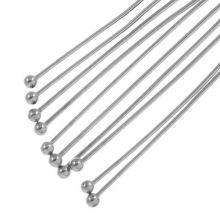 Stainless Steel Nietstiften Bol (40 mm) Antiek Zilver (50 Stuks) Dikte 0.7 mm