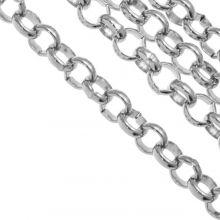 Stainless Steel Jasseron (5 x 1.2 mm) Antiek Zilver (1 Meter)