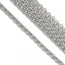 Stainless Steel Jasseron (4 x 4 mm) Antiek Zilver (2.5 Meter)