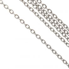 Stainless Steel Jasseron (2 x 1.5 x 0.4 mm) Antiek Zilver (10 Meter)