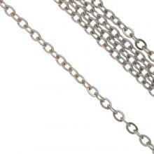 Stainless Steel Jasseron (4 x 3 x 0.6 mm) Antiek Zilver (10 Meter)