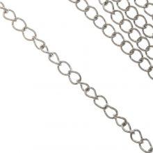 Stainless Steel Jasseron (3 x 1.5 mm) Antiek Zilver (10 Meter)