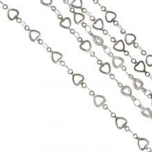 Stainless Steel Jasseron Hartje (10 x 5 mm) Antiek Zilver (1 Meter)
