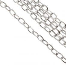 Stainless Steel Jasseron (7 x 4 x 0.8 mm) Antiek Zilver (10 Meter)