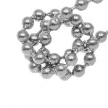 Stainless Steel Bolletjesketting (2 mm) Antiek Zilver (1 Meter)