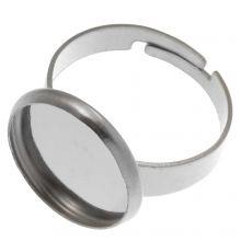 Stainless Steel Verstelbare Ring (Voor 14 mm Cabochon) Antiek Zilver (5 Stuks)