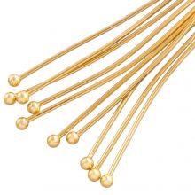 Stainless Steel Nietstiften Bol (25 mm) Goud (50 Stuks) Dikte 0.6 mm