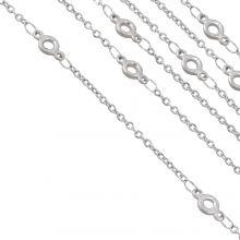 Stainless Steel Jasseron Oogje (9 x 4.5 x 1.4 mm) Antiek Zilver (2.5 Meter)