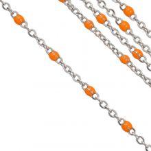 Stainless Steel Jasseron (2 x 1.5 mm) Orange / Antiek Zilver (2.5 Meter)