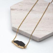 Stainless Steel Ketting Met Druzy Hanger Black (45 cm) Goud (1 stuks)