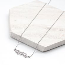 Stainless Steel Ketting Blaadje Met Crystal Strass (48 cm) Antiek Zilver (1 stuks)