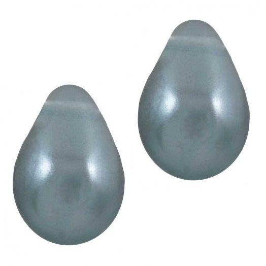DQ Glasparels Druppel (9 x 6 mm) Stone Blue Grey (20 Stuks)