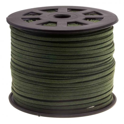 Faux Suede Veter (3 mm) Army Green (91 Meter)